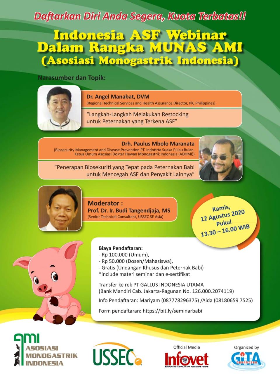 Seminar Indonesia ASF Webinar Dalam Rangka MUNAS AMI (Asosiasi Monogastrik Indonesia )